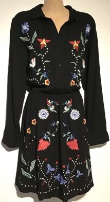 ASOS BLACK EMBROIDERED SHIRT DRESS SIZE 16